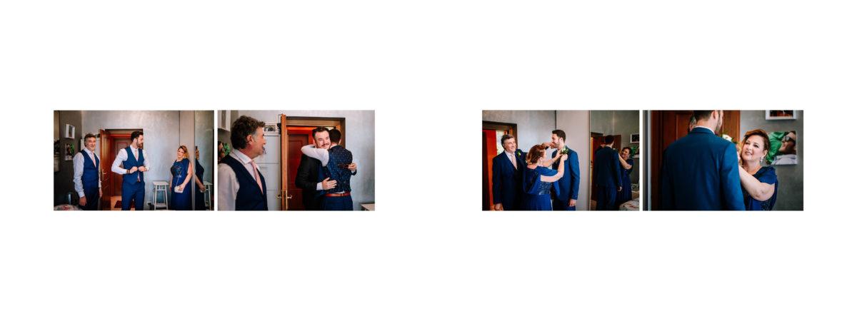abbracci ed emozioni a casa sposo